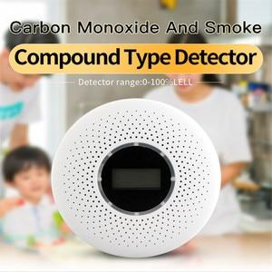 Image 3 - 2 で 1 LED デジタルガス煙センサーアラーム Co 一酸化炭素検出器音声警告センサーホームセキュリティ保護高敏感