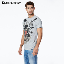 GLO-STORY 2019 Mens Short Sleeve T-Shirts Fun Cartoon Print Basic Cotton Style Streetwear Male Fashion Summer Tops MPO-8625