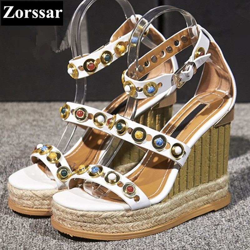 Summer Woman Shoes Genuine leather platform High heels wedges sandals women Beach shoes 2017 Fashion rivets womens peep toe pump phyanic 2017 gladiator sandals gold silver shoes woman summer platform wedges glitters creepers casual women shoes phy3323