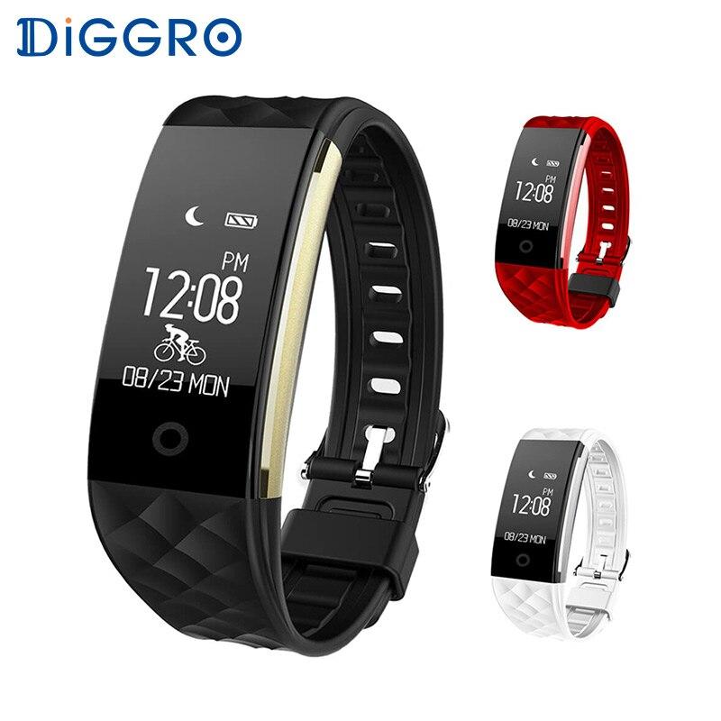 Diggro S2 Smart Wristband Monitor de ritmo cardíaco IP67 Sport Fitness pulsera Tracker Bluetooth para Android IOS PK miband 2