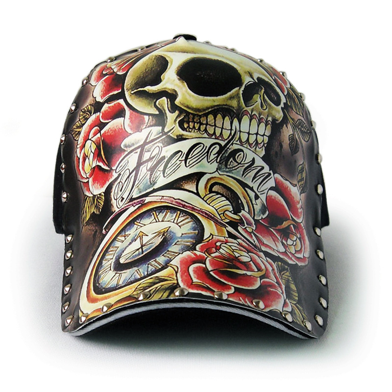 Riding hats illustration of skulls tattooed on a spring summer new bicycle Baseball cap personality original Cycling Hats caps in Cycling Caps from Sports Entertainment