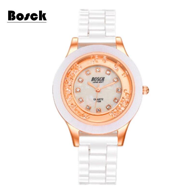 2017 relogio feminino BOSCK Ceramic Quartz Waterproof Rhinestone woman watch fashion brand watches relojes mujer marcas