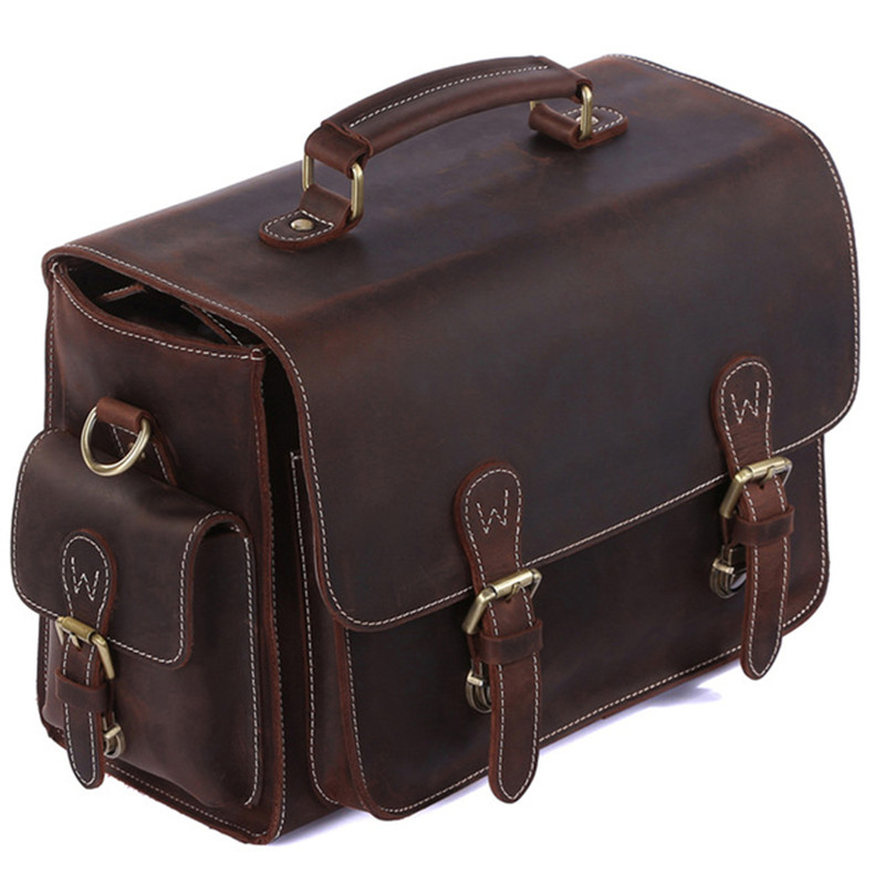 Vintage 100% Cowhide leather DSLR SLR Camera Video Bag Cross Body Messenger Bags For Sony Canon Nikon Men's handbags travel bags genuine lowepro dslr video fastpack 350 aw dvp 350aw slr camera bag shoulder bag 17 laptop