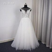 09fcb212c5 Vestido De Noiva Illusion Dekolt Perła Przycisk Powrót Suknia Ślubna  Koronki Appliqued Tulle Warstwy Romantyczny(