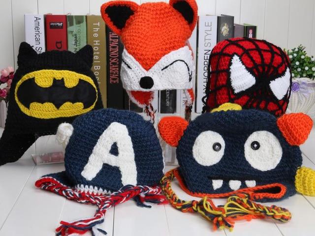 599a867bac6c1 Despicable Me Captain America Superman Spiderman Batman Iron Man Super Hero  Boys FOX Xmas Hat Crochet Beanie Winter Baby Boy Cap