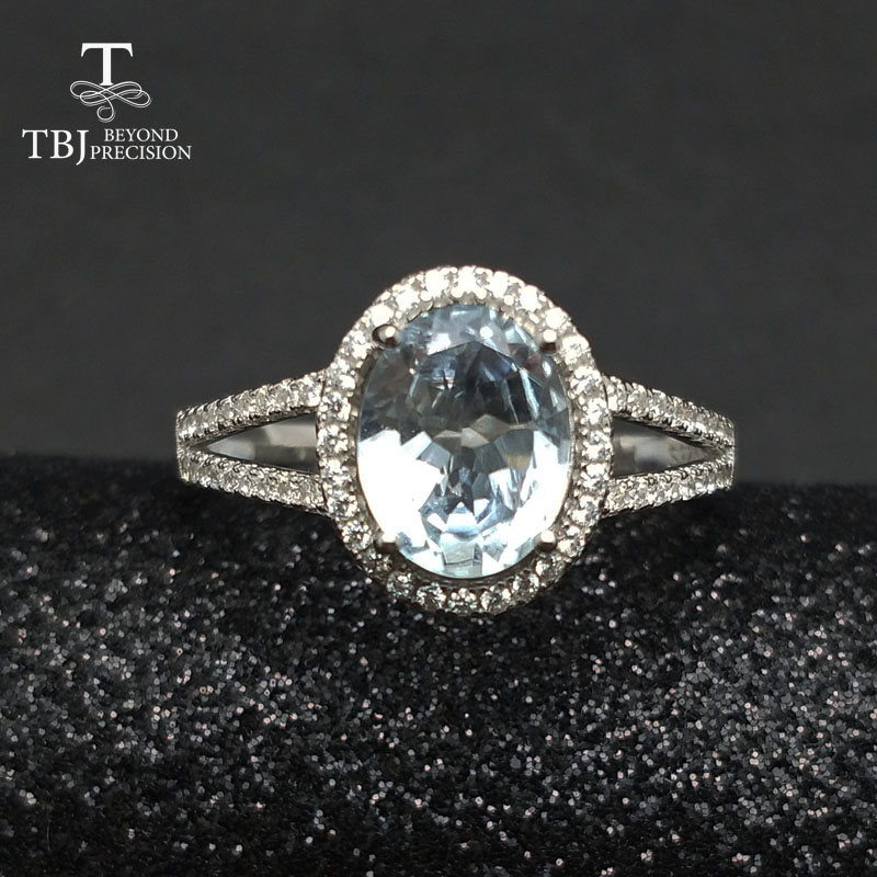 TBJ Classic natural brazil aquamarine gemstone Ring in 925 sterling silver simple beautiful jewelry for women