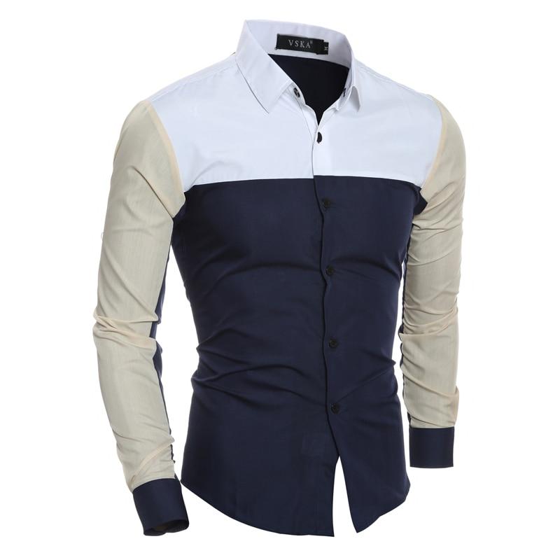 New Design Mens Summer Vintage Slim Shirts Patchwork Colors Shirt Long Sleeve Casual Shirt XH995147