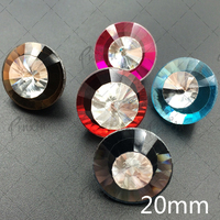 New Hot 20mm MIX Colors 50pcs Crystal Alloy Buttons Rhinestone For Sofa Bags Clothing Accessories Jewelry