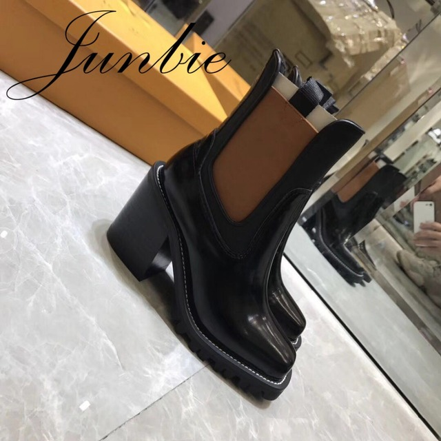 JUNBIE Khaki Black Genuine Leather Square Toe Slip On Cool Boots Thick Heel Women Motorcycle Autumn Winter Boots Shoes Women