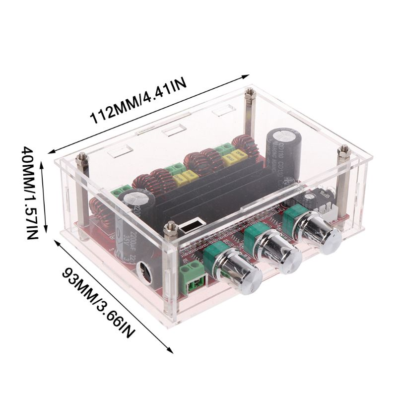 TPA3116 D2 12-24V 50Wx2+100W 2.1 Subwoofer Power Channel Digital Audio Amplifier Board with Acrylic Shell