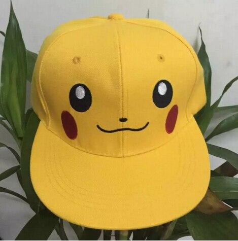 BING RUI CO jaune Pikachu chapeau adultes enfants peuvent ajuster la taille dessin animé hip hop à plat le long de la casquette casquette de baseball