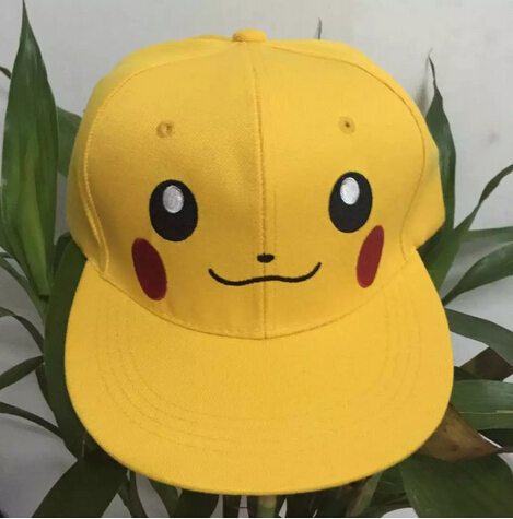 Yellow Pikachu hat adult children can adjust the size cartoon hip hop flat along the cap baseball cap anime pocket monster flareon cosplay cap orange cartoon pikachu ladies dress pokemon go hat charm costume props baseball cap