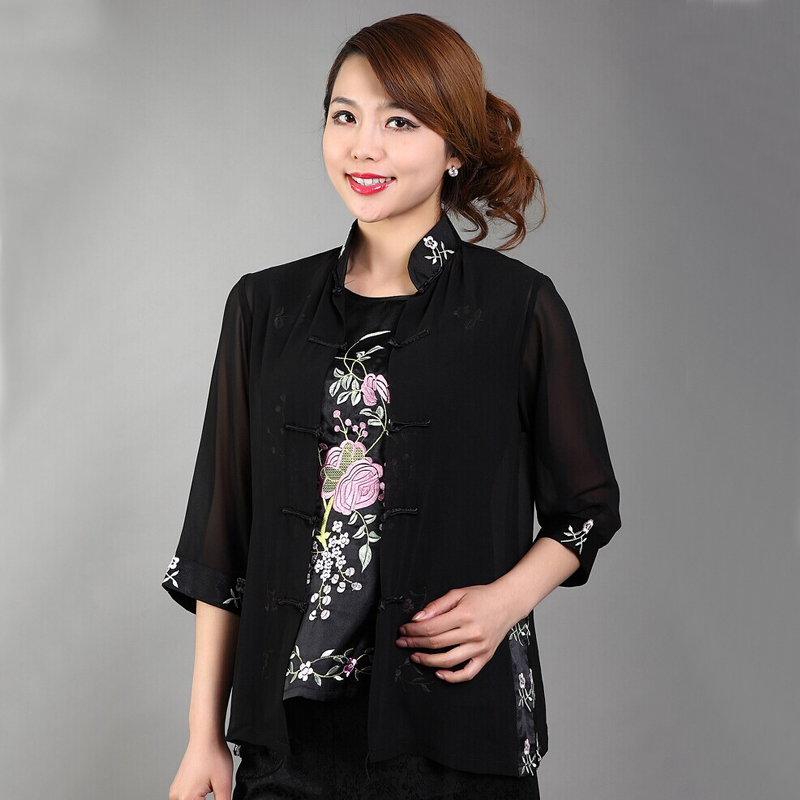 Black Elegant Flowers Female Two Piece Shirt Chinese Women S Chiffon Blouse Embroidery Blouse Underwear S