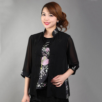 Black Elegant Flowers Female Two Piece Shirt Chinese Women S Chiffon Blouse Embroidery Blouse Underwear S