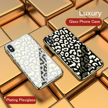 Luxury Leopard Glass Phone Cover Case For iPhone X XR Xs Max Plating Hard 8 7 6S 6 Plus Soft TPU Full