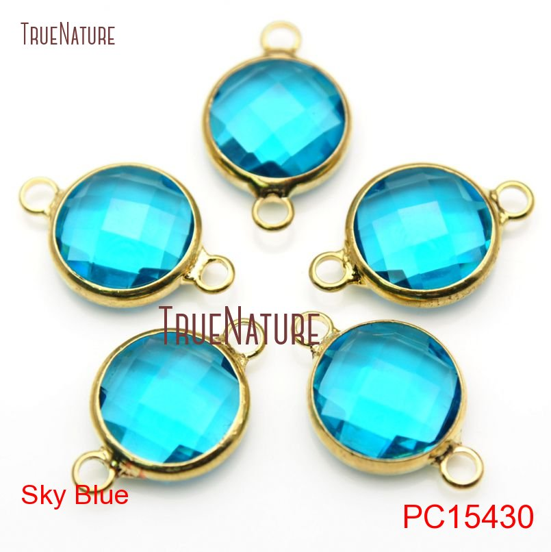 Framed Round Connector  Birthstone  Gems  Blue  8mm x 12mm  GABG-008-P Alice Blue Faceted Glass Connector in Gold