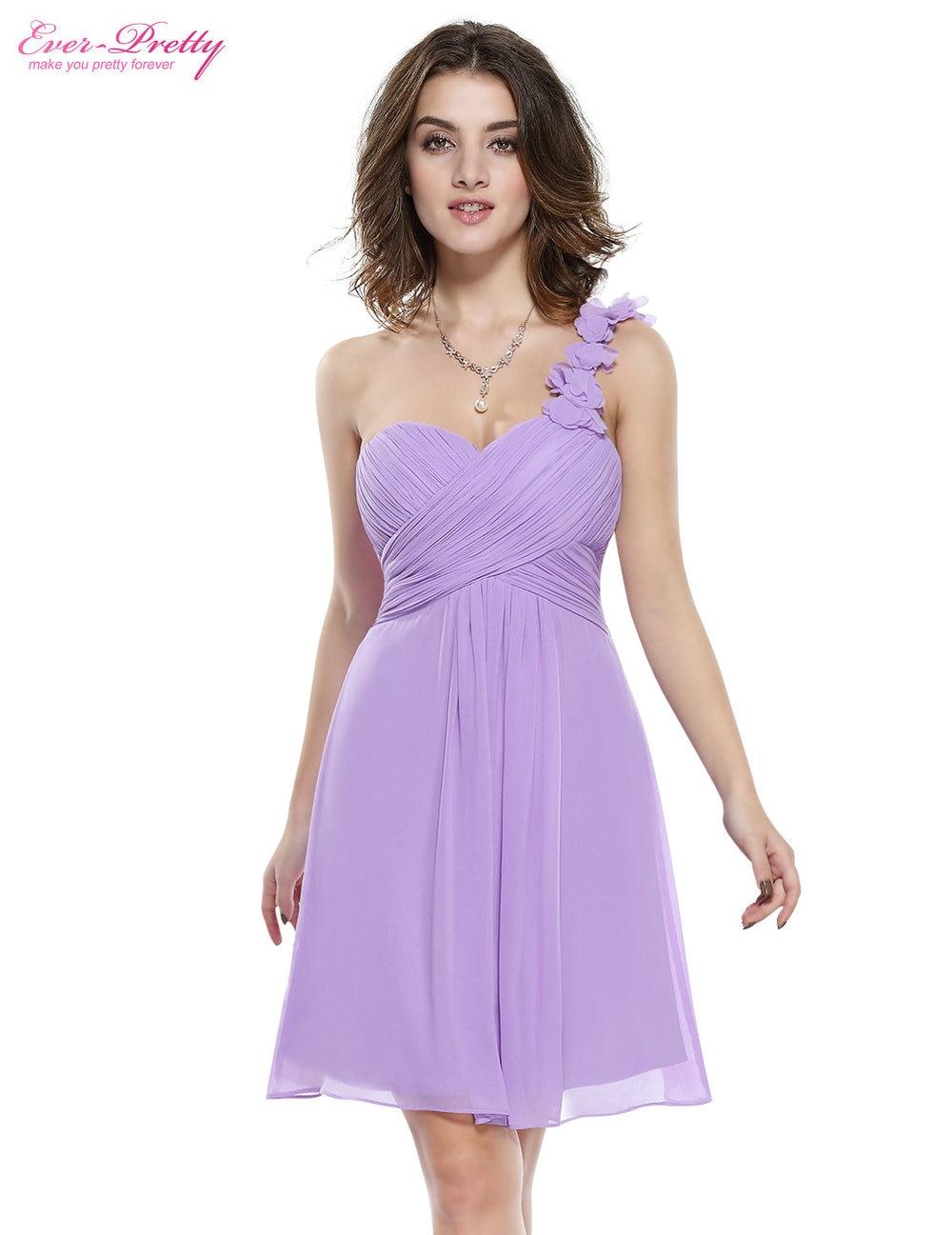 Цветы розовый персик коралловый цвет одно плечо шифон короткие элегантные коктейльные платья HE03535 новое поступление - Цвет: Lavender