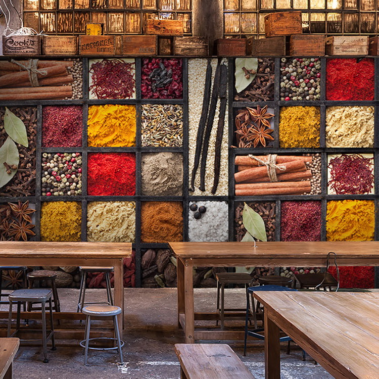 Custom 3d mural 3D Seasoning food materials mural barbecue