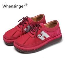 Whensinger 2016ผู้หญิงรองเท้า2.6เซนติเมตรส้นลำลองฤดูร้อนหนังแท้Zapatos Mujer C Haussureเด็กหญิง3337