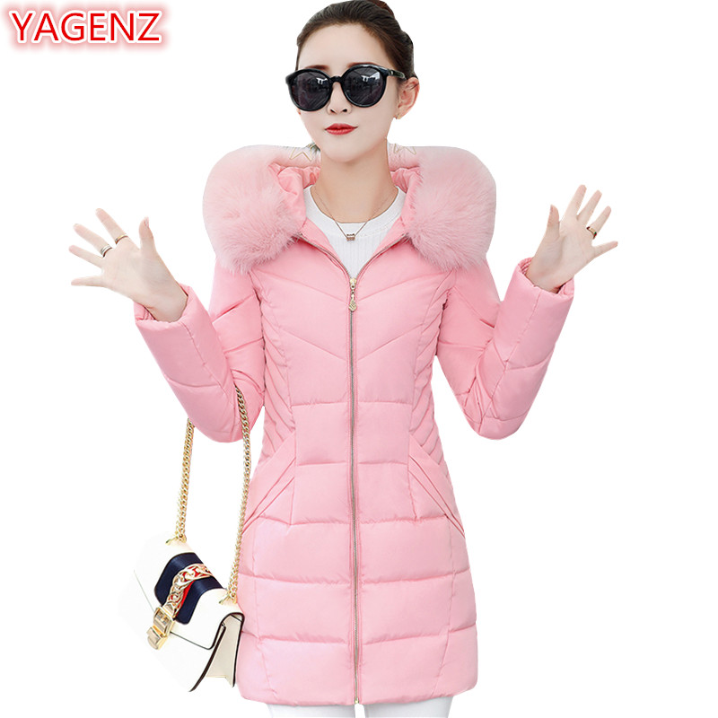 YAGENZ Women Winter Jacket Plus size Women clothing Parkas Mujer Coat Long Coat Warm Down Cotton Tops Fur collar Hooded Coat 612