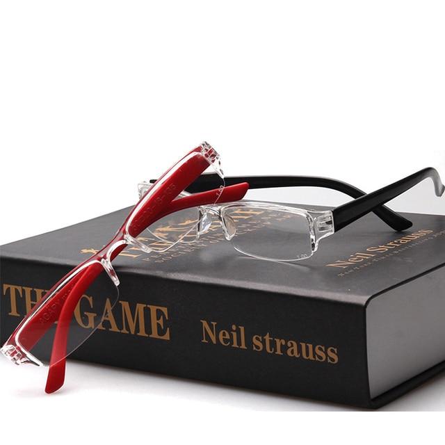 HD Resin Lenses Reading Glasses Ultra Light Eyebrows Presbyopic Glasses Fashion Semi-frame Hyperopia Prescription Eyeglasses