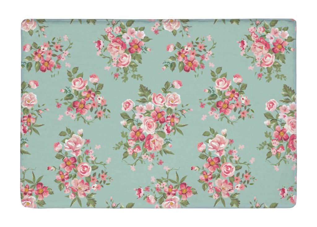 Floor Mat Green Pink Beauty Rose Floral Seamless Print Non