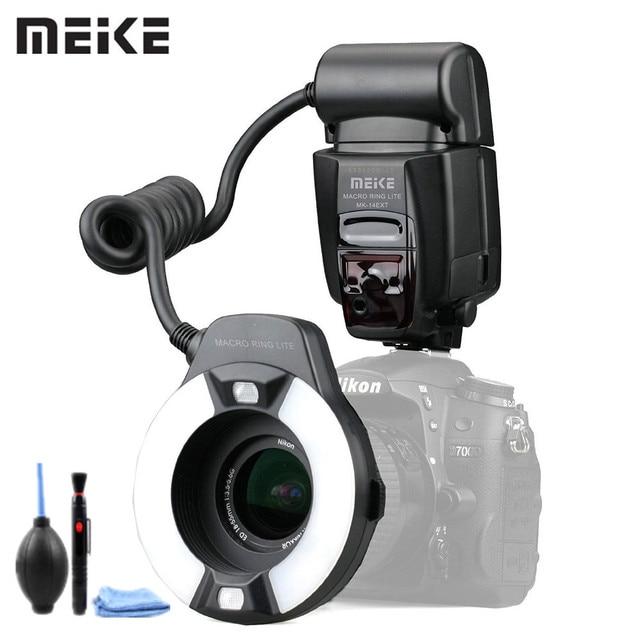 Meike MK 14EXT LED TTL Macro Ring แฟลช Lite AF I TTL Assist สำหรับ Nikon D7100 D7000 D5000 D5100 D3200 D3100 d3000 D800 D700