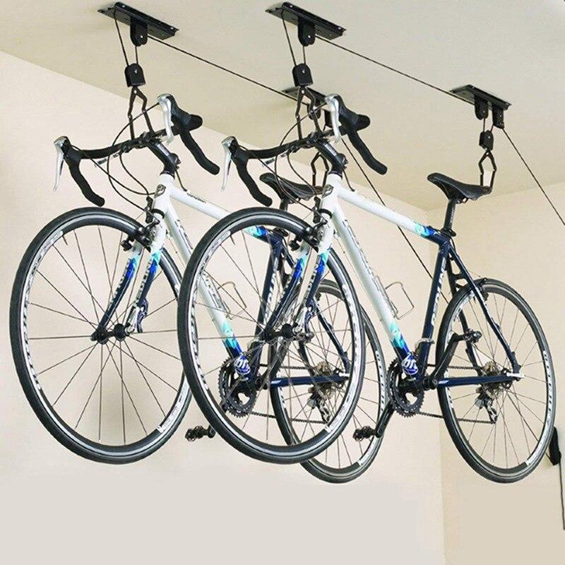 Ascenseur de vélo palan monté au plafond Garage vélo cintre économiser de l'espace toit plafond poulie rack fixé au mur en acier