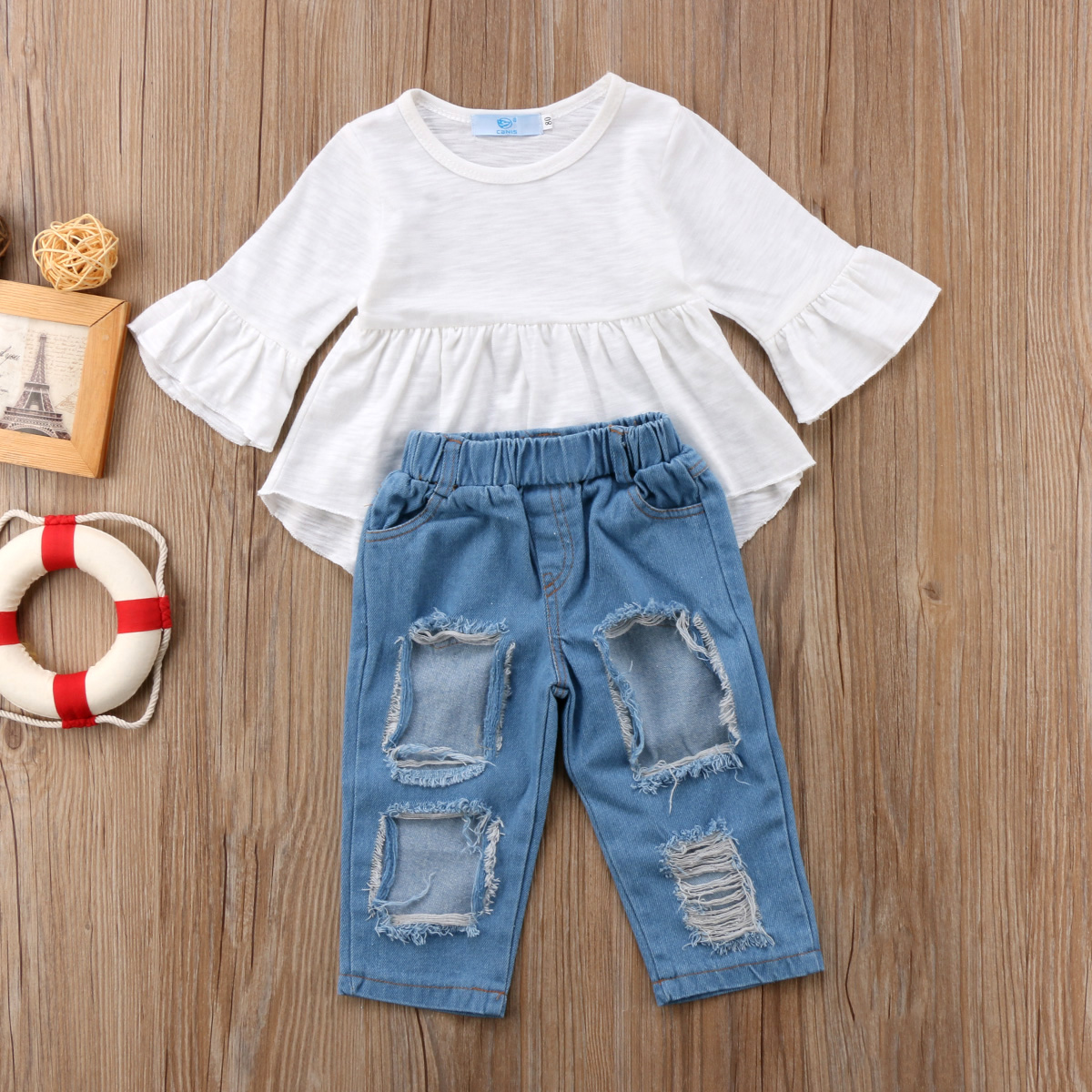 2Pcs Fashion Summer Toddler Kids Baby Girls Cotton Set Clothed Tunic Ruffle Tops Dress Ripped Denim Pants Jeans Clothes