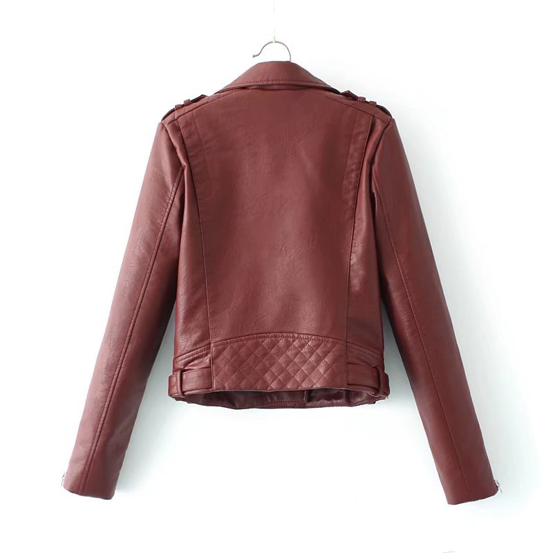 Court Couleur S Cuir Blanc Revers Casual Veste pink Nouveau red Black En Hiver 2018 Rouge Noir Et white Solide Automne Vent xl w8aCPz