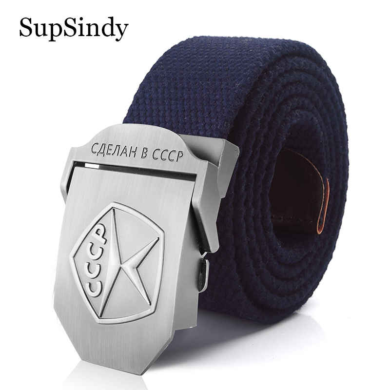 SupSindy Men&Women Belt High Quality 3D CCCP Soviet Memory Mark Army Military Belts Patriotic Retired Soldiers Canvas Jeans Belt