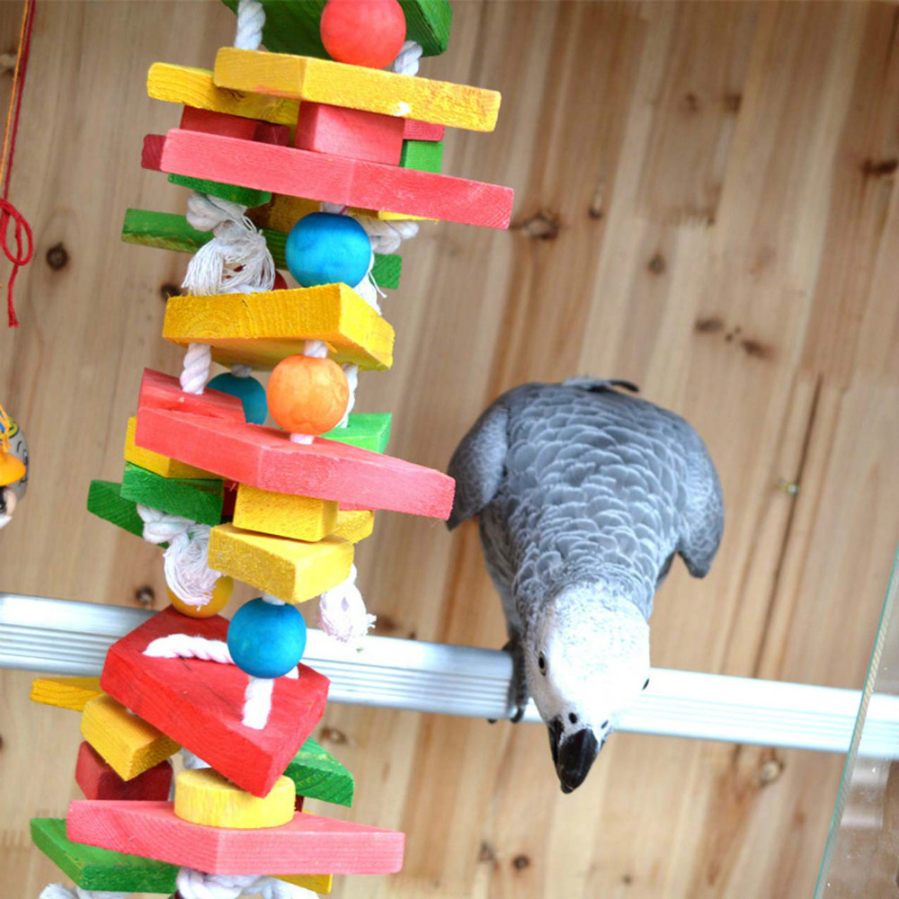 Wood Bird Toys : Parrot bird toys swing wood chew rope fun for large