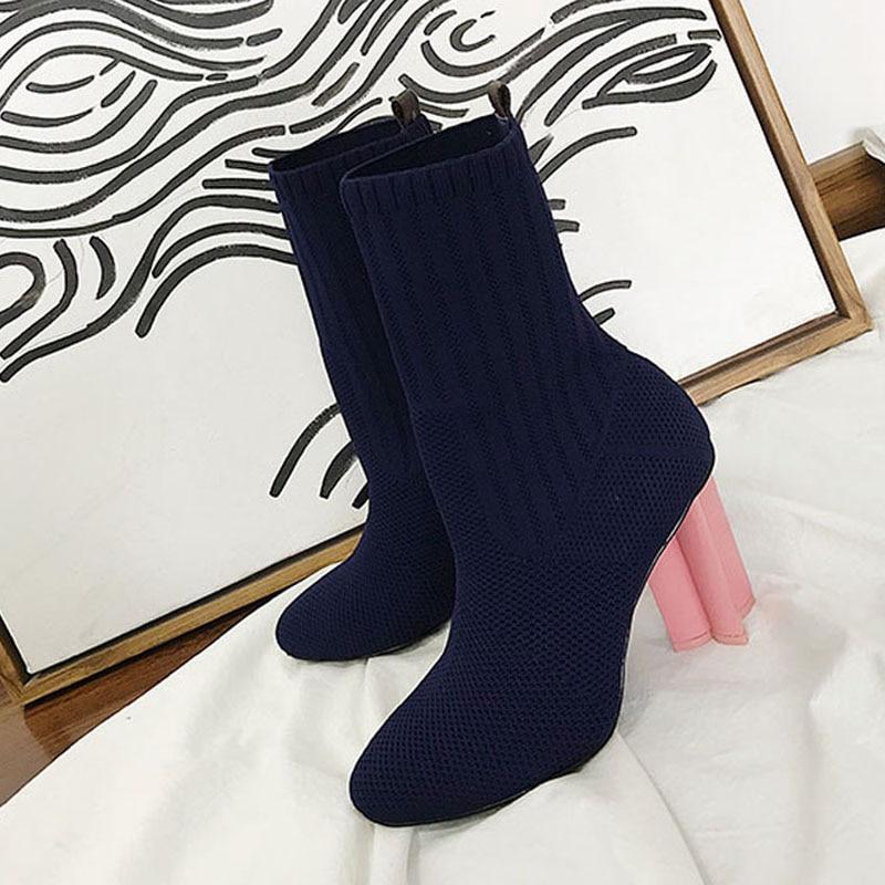 Bout 2018 Étrange Chaussette Noir Talon Haute Chic Stretch bleu Cheville Chaussures Femmes Vert vert Tricot Rond Femme Bleu Bottes 0f4rq0z