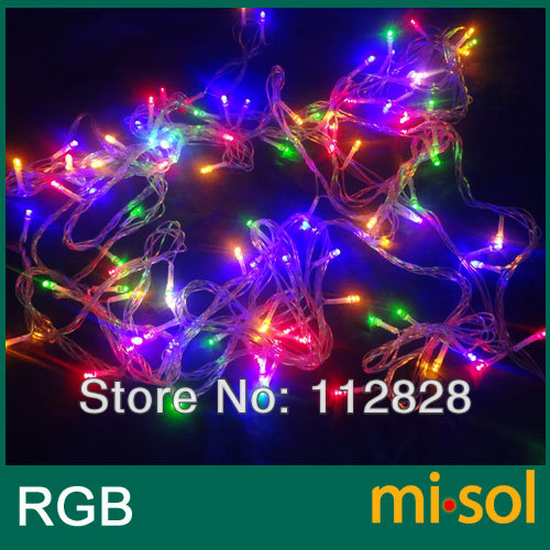 Waterproof 10M 100LED Christmas string light RGB mixed color LED bulbs for Christmas fairy party, 110v with US plug