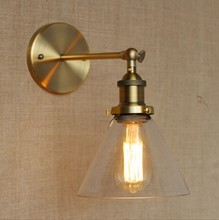 Golden Loft Vintage Industrial Lighting Wall Lamp With Glass Lampshade Edison Wall Sconce Lamparas De Pared american wall lamp industrial vintage loft style wall light for bedside wall sconce glass iron art edison e27 lighting fixtures