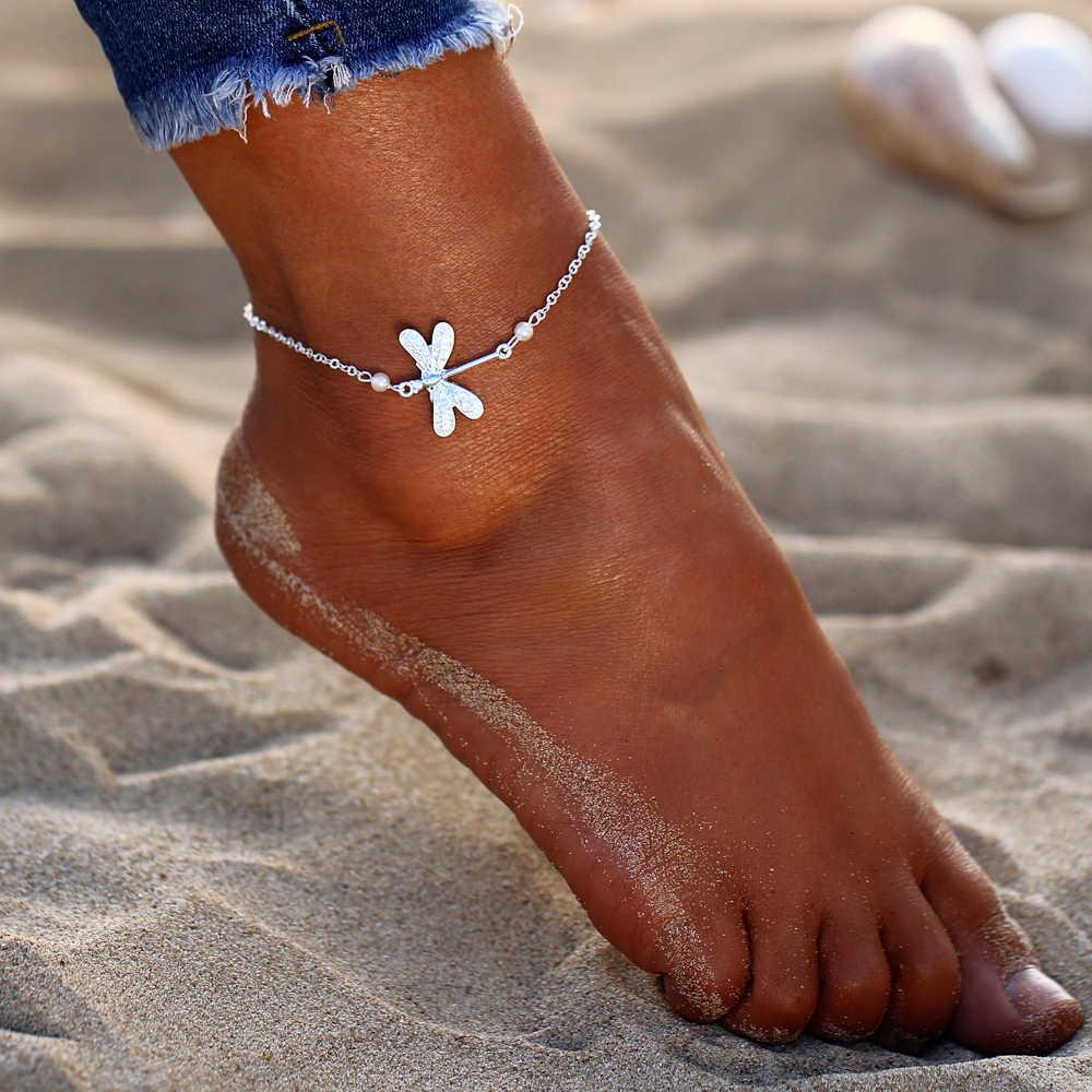 17KM nuevo Boho plata Color pulsera de tobillo de animales para mujer chica Bohemia cadena tobillera con cuentas playa pulsera DIY pie joyería fiesta regalo