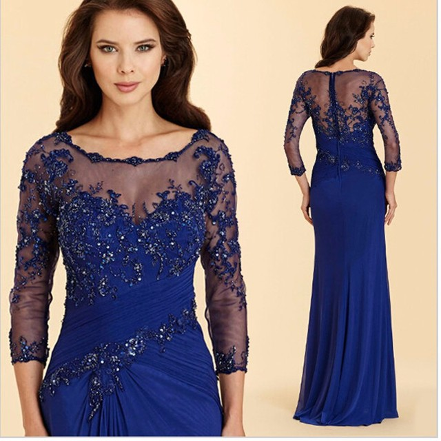 fa4770bd44dab Navy Blue Plus Size Mother Of The Bride Dress With Long Sleeve Appliqued Beading  Floor Length