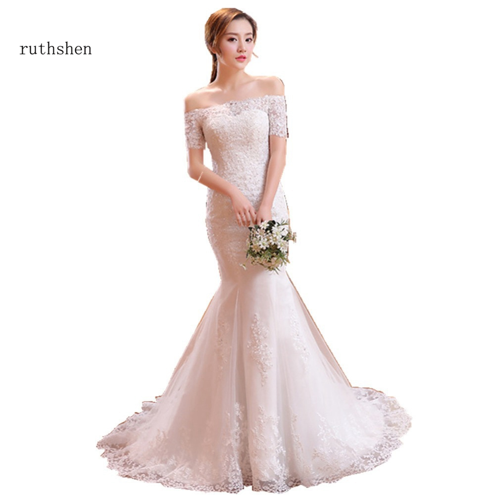 ruthshen Vintage Lace Mermaid Wedding Dresses With Sleeves 2019 Robe De Mariee Off The Shoulder Bridal