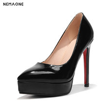 NEMAONE 2018 spring autumn new arrive women pumps black pink fashion platform high heels shoes sexy lady dress shoes