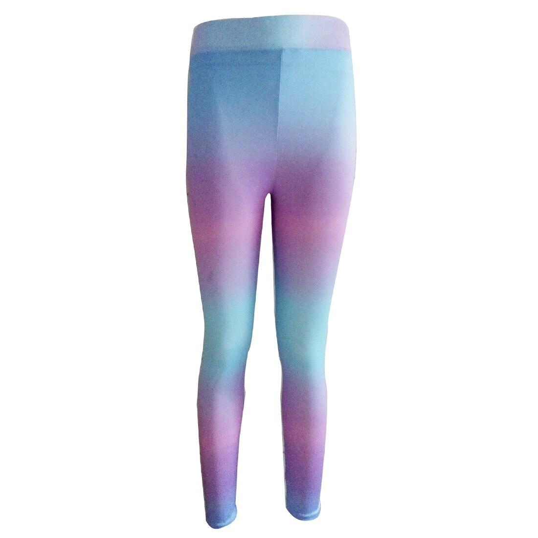 2018 Hot Women High Waist Leggings Neon Rainbow Printed -6732