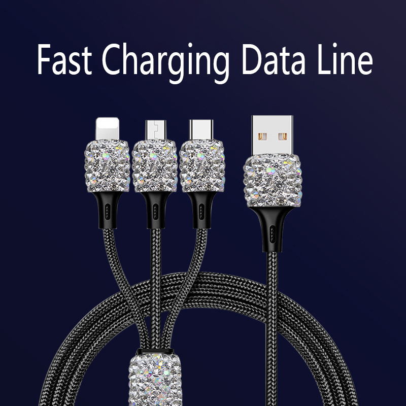 Diamond Crystal 3 in 1 USB Cable For iPhone Fast Charging Charger Micro USB Data Line Cable Mobile Phone Type c Cable Ornaments     - title=