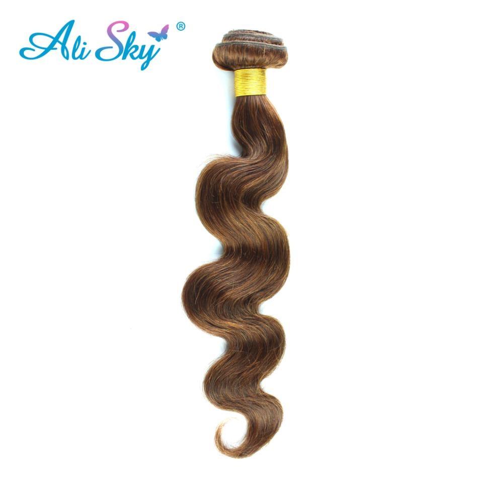 Alisky Pre-Colored Peruvian Straight Hair 4# Light Brown or 2# Dark Brown 100% Human Hair Weave None Remy Straight Hair Bundles