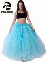 FOLOBE Handmade Cổ Phiếu Mới Sky Blue Thời Trang Ladies Xếp Li Maxi Váy Vải Tuyn Áo Dài Váy Bóng Gown Lưới Skater Skirt