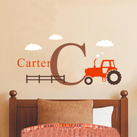 Cartoon Tractor Wall Decals Personalized Name Initial Removable Nursery Art Stickers for Kids Room Home Decor Drop Shipping