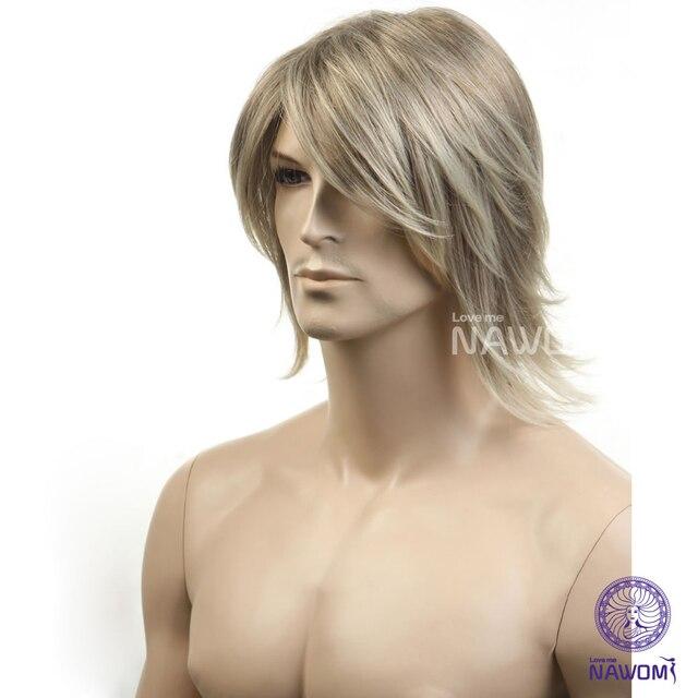 High Quality Men wigs fashion short synthetic hair 100% kanekalon hair  ombre blonde wigs free shipping 41bba63e1
