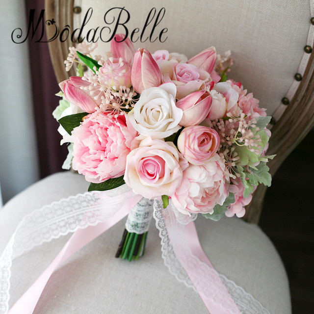 Suficiente modabelle Tulip Roses Pink Bridal Bouquet Artificial Peony Rose  BY93