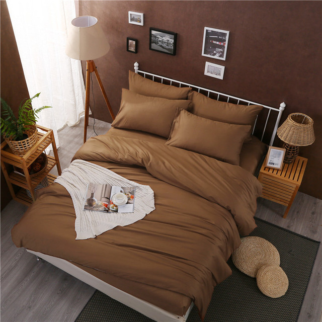 Brown Coffee Grey White Color Bed Sheet Set 100% Cotton Queen King Size  Hotel Bedding