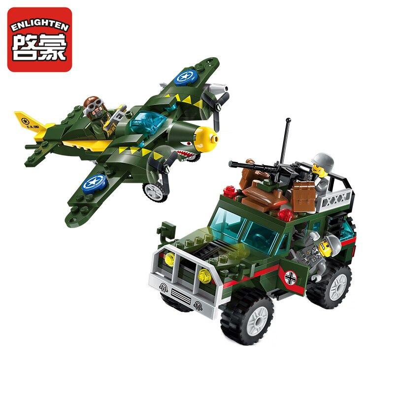 Enlighten Building Block Military Battle Army Land Force Fighter War Air Strike 3 Figures 241pcs Educational Bricks Toy-No Box