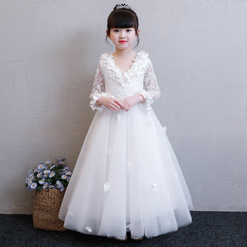 2018 New Children Girls Elegant White/Red Birthday Wedding Party Lace Princess Dress Kids Dance First Communication Long Dress 2017 new high quality girls children white color princess dress kids baby birthday wedding party lace dress with bow knot design