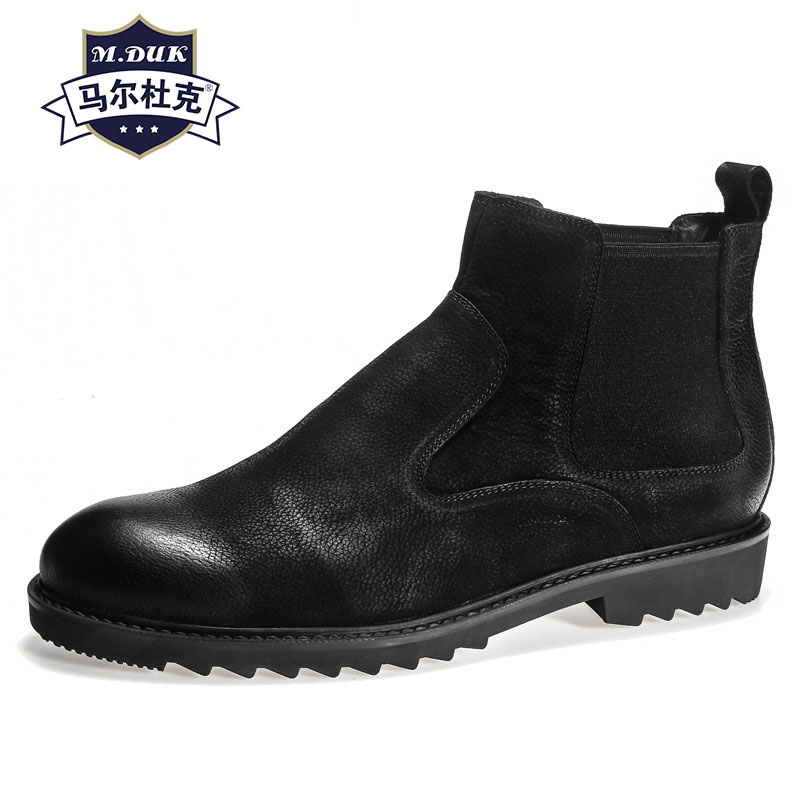 mens short boots retro British high top shoes Chelsea real leather Riding autumn winter men all-match cowhide